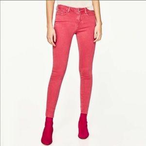 Zara Basic Mid Rise Skinny Salmon Pink 36/4